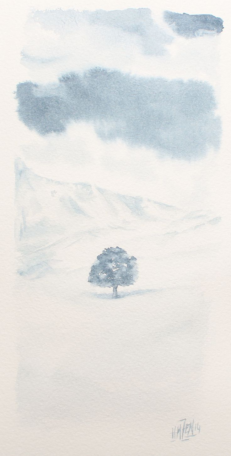 Postales de acuarela - Fría soledad. Watercolor Postcards - Cold loneliness. HMZEN'14