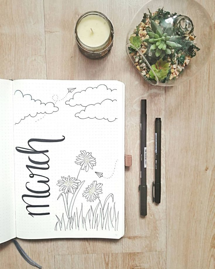 Bullet journal monthly cover page, March cover page, hand lettering, flower drawings, paper airplane drawing. | @cactus.of.inspiration