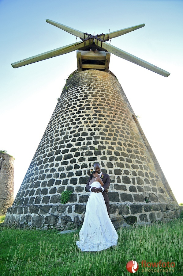 Beautiful Wedding Pic of Couple in the Caribbean/Antigua, West Indies ( Love the Sugar Mill)