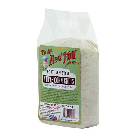 WHITE CORN GRITS Non-GMO:  BASIC COOKING INSTRUCTIONS FOR WHITE CORN GRITS  Contributed by: Bob's Red Mill Natural Foods  These instructions are printed on the label of White Corn Grits. Lactose Free, Low Cal, No Fat, No Sugar, Soy Free.    1 cup White Corn Grits  3 cups Water  1/2 tsp Sea Salt