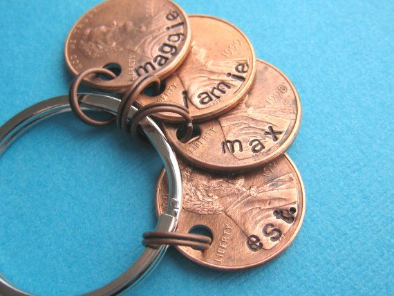 kids names stamped on pennies from their birth year, cool keychain.