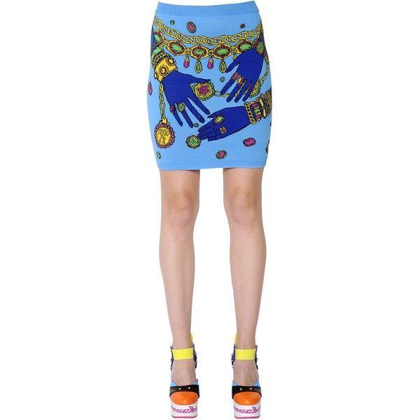 Moschino Women Cotton Jacquard Mini Skirt (830 CAD) ❤ liked on Polyvore featuring skirts, mini skirts, lightblue, patterned skirts, moschino, moschino skirt, print skirt and light blue skirts