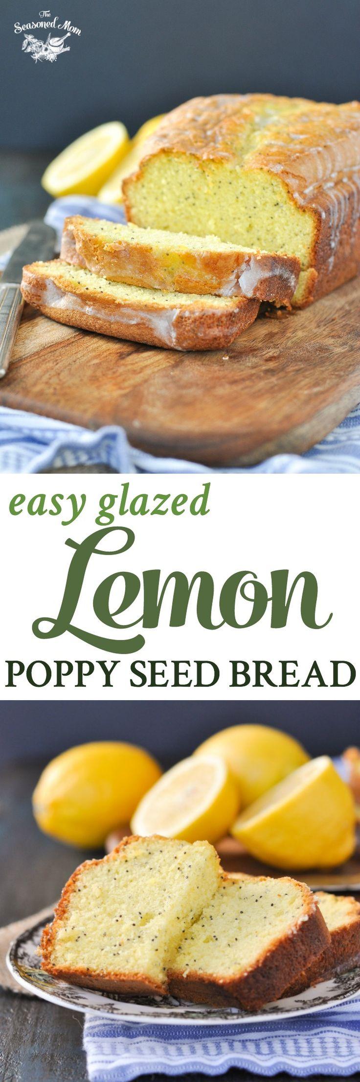 Easy Glazed Lemon Poppy Seed Bread | Lemon Desserts | Lemon Cake | Brunch Ideas | Brunch Recipes | Breakfast | Bread Recipes | Lemon Recipes