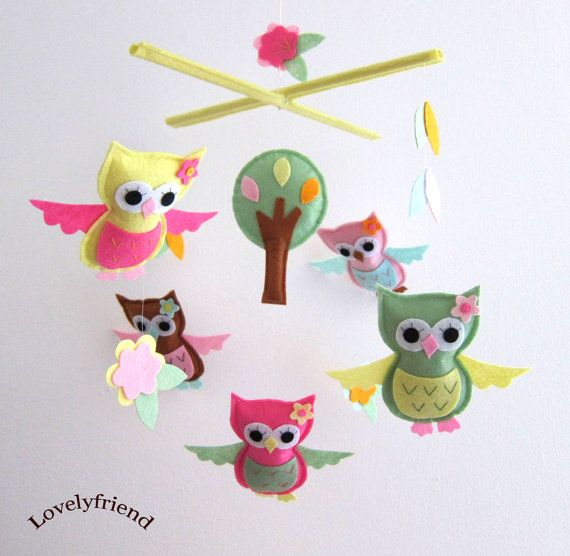 Baby Crib Mobile - Baby Mobile - Mobile - Crib mobiles - Felt Mobile - Nursery mobile - Owl And Bird Theme (Custom Color Available)