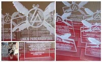 Trofeo de #Linkin #Park hecho con corte y grabado láser en #acrílico. http://www.lumaclub.com.ar