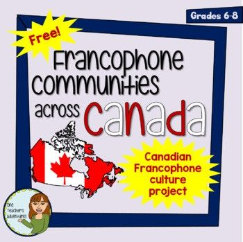 This freebie consists of a 5-page project outline to help your students research a Canadian Francophone Community or Group. Included: -Completely editable project outline, asking your students to research information about celebrations/festivals, food, geography/territory, history, and population of their