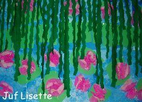 groepswerk Monet, schilderen, werken met papier