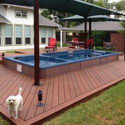 Spa Pool Ideas rectangular pool w spa baja step Endless Pool Swim Spa With Hot Tub