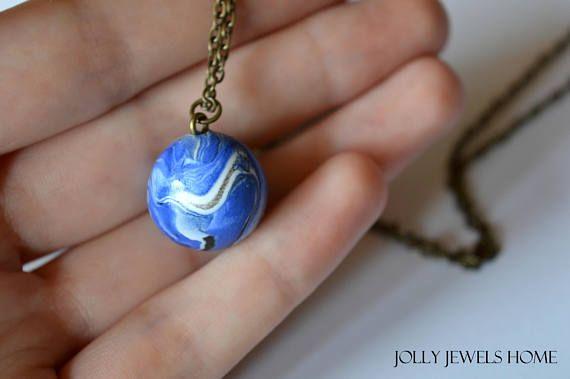 Blue bead pendant Handmade polymer clay pendant Blue