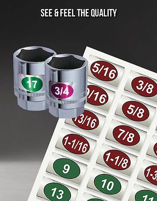 """Eye Saver"" Chrome Socket Tags for Tools & Socket Sets Organizer Rails Wrenches"