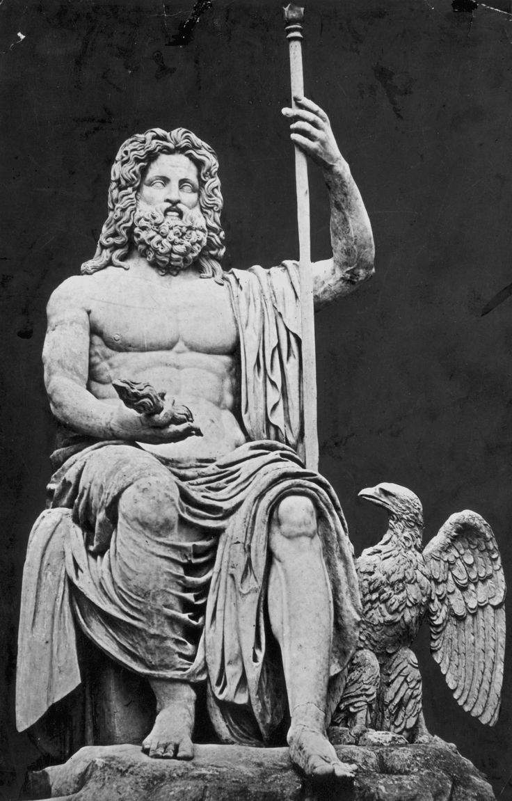 Zeus: God of the Sky, Lightning, Thunder, Law, Order, Justice, Father of the Gods and Men; Greek