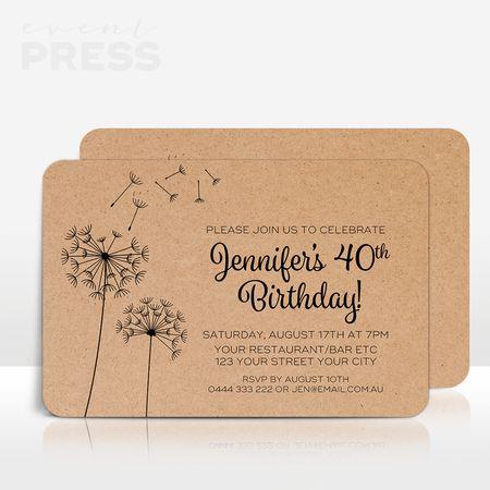 Dandelion birthday invitation on Kraft Card
