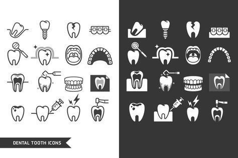 Dental Tooth Icons Set. by Graphixmania on @creativemarket