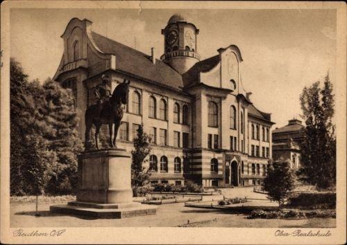 Ak-Bytom-Beuthen-Schlesien-Ober-Realschule-Reiterdenkmal-1131172