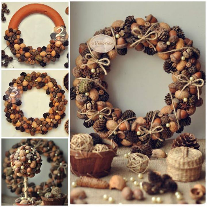 Pine cone and nut wreath for Christmas decoration:http://wonderfuldiy.com/wonderful-diy-christmas-candy-cane-wreath/