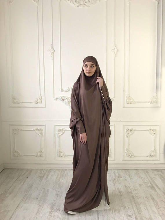 Brown Long Silk #Khimar, Elegant #muslim dress, caramel Burqa,Dubai #Abaya, traditional hijab,ready to wear #hijab, long #jilbab, Long #burqa