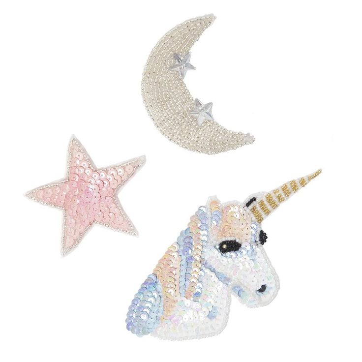 1 star moon unicorn 1 unique stitch fabric glue 1 spool for Space unicorn fabric