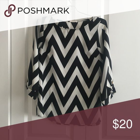 Black and White Chevron Blouse Black and White chevron blouse size small Everly Tops Blouses