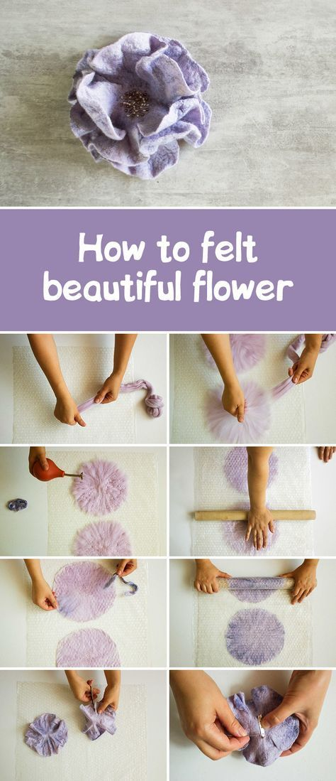 Nunofelted rose flower tutorial | Валяем брошь-цветок
