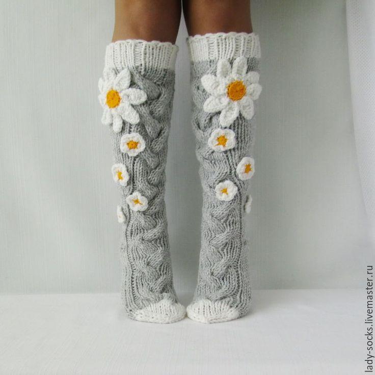 Knitted knee socks   Купить Гольфы Ромашки. Доставка бесплатно! - гольфы вязаные, гольфы женские, носки вязаные
