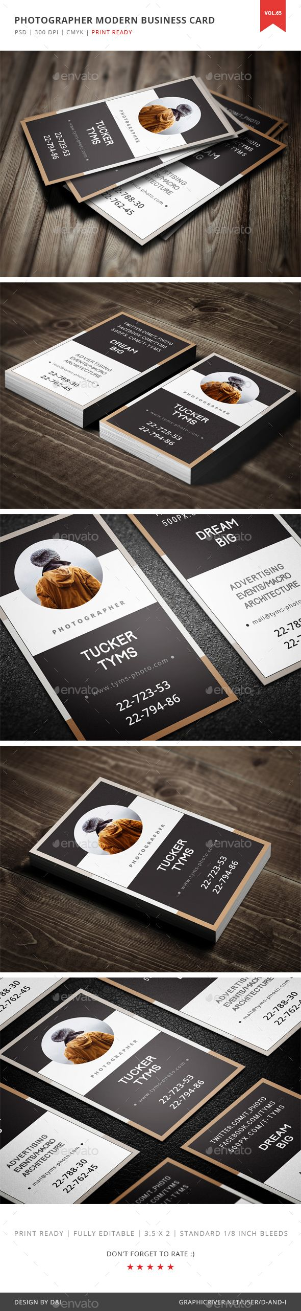 Photographer Modern Business Card Template PSD. Download here…