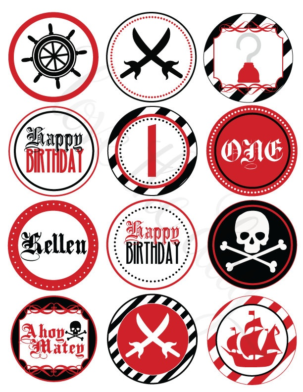 Pirate Party Printable DIY Custom Party Circles by Love The Day. $12.00, via Etsy.