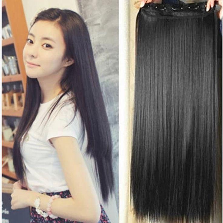 "24"" 50CM Straight Full head Hair Extensions Clip in Hair extensions 5Clips Ombre Synthetic Hair"