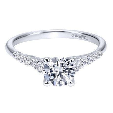 14K White Gold 1.01cttw Pave Set Graduated 11-Stone Round Diamond Engagement Ring