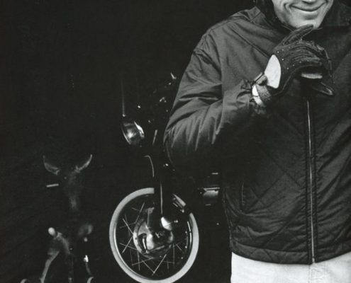 Steve McQueen with driving gloves
