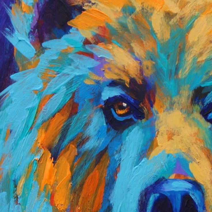 Paintings by Theresa Paden: Grizzly Bear Painting in Bright Colors by Theresa Paden