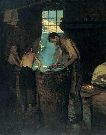 """P.S.Kroyer artista Danese realizza questa opera d'arte nel 1880 circa dal titolo""""Il Cappellaio di Sora"""" e conservata nel museo di Copenaghen """"Hirschsprung""""."""
