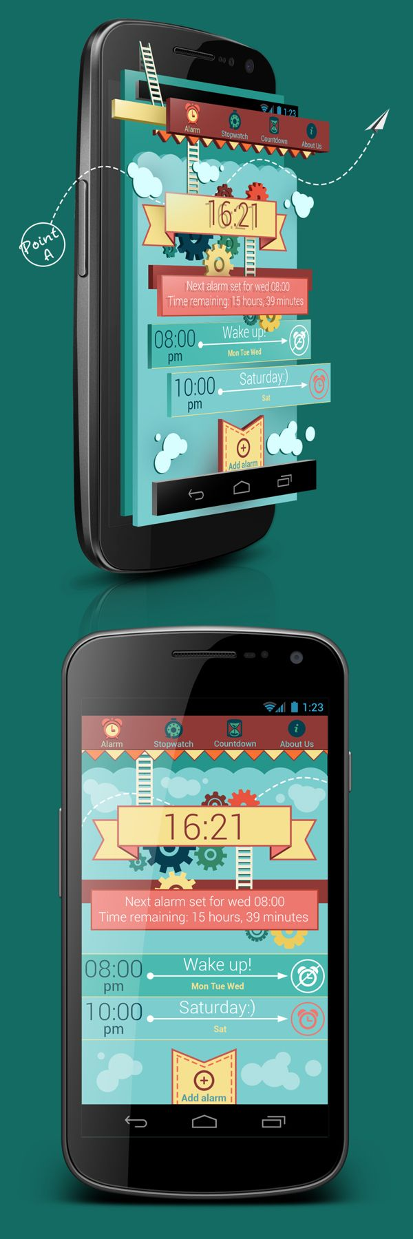Budila *** Experimental design for the new alarm for Android *** by Sergey Valiukh, via Behance #app #gui #android #behance