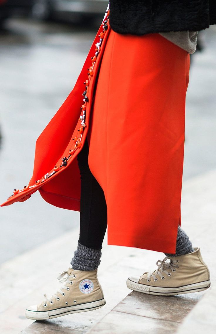 Red embellished skirt, knitted socks and Chuck Taylors