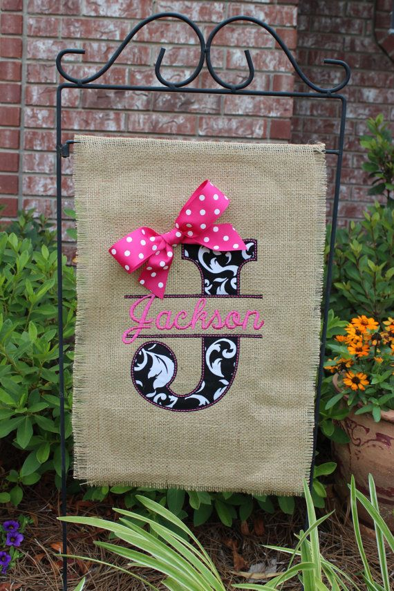 Burlap monogrammed garden flag- Split letter with bow- you choose colors on Etsy, $28.00