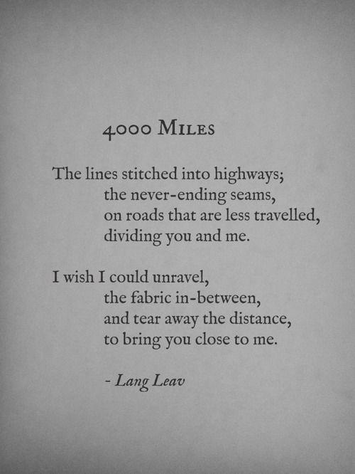 """""""4,000 Miles"""" // Lang Leav"""