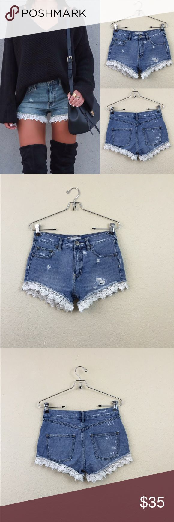"Free people lace trim shorts • free people • No damages • Size 25 • $90 • Waist 13"" Free People Shorts Jean Shorts"