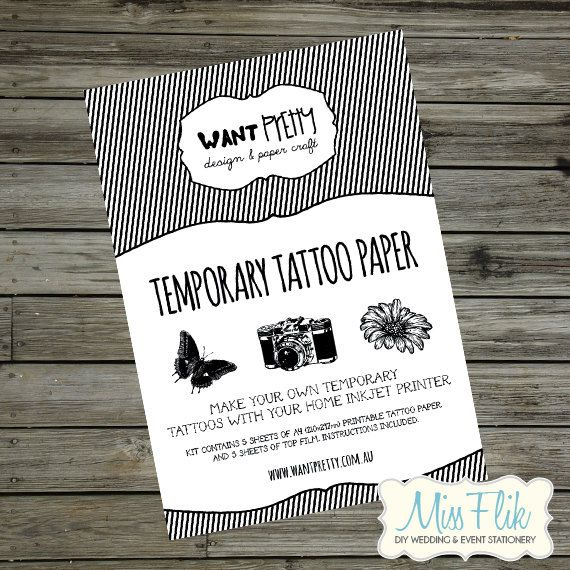 Diy Temporary Tattoo Paper Print Yourself 5 Or 10 Sheets Make Your Own Temp Tattoos On