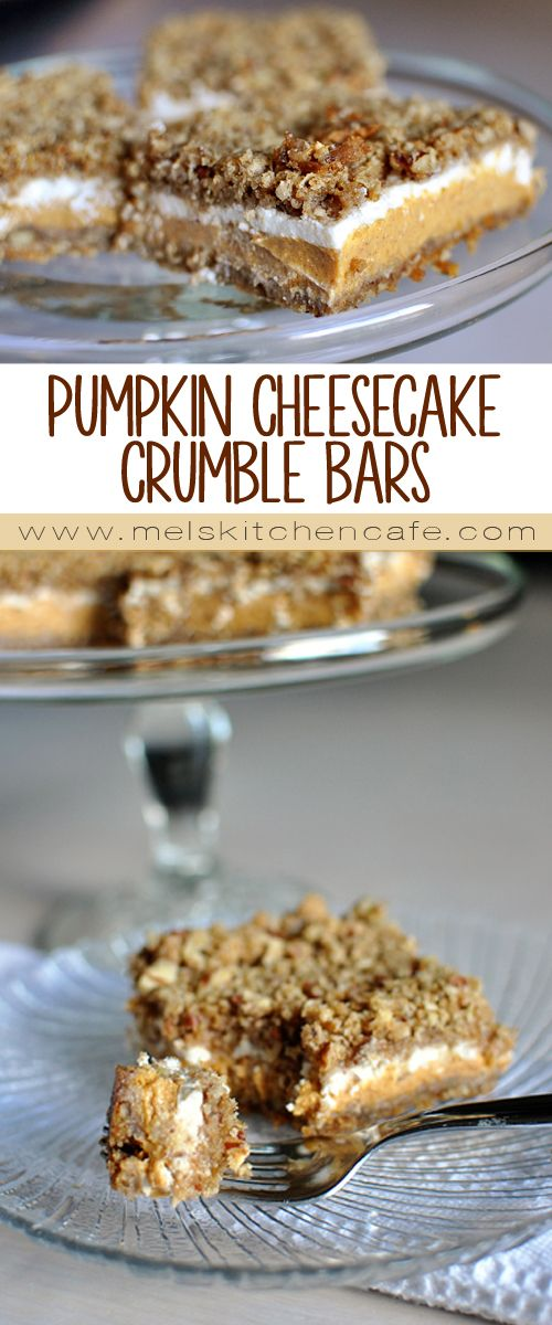 Pumpkin Cheesecake Crumble Bars