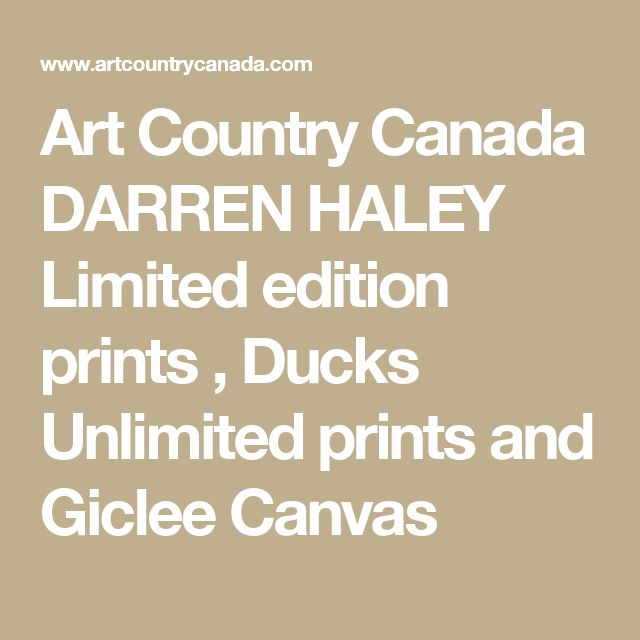 Art Country Canada DARREN HALEY  Limited edition prints , Ducks Unlimited prints and Giclee Canvas