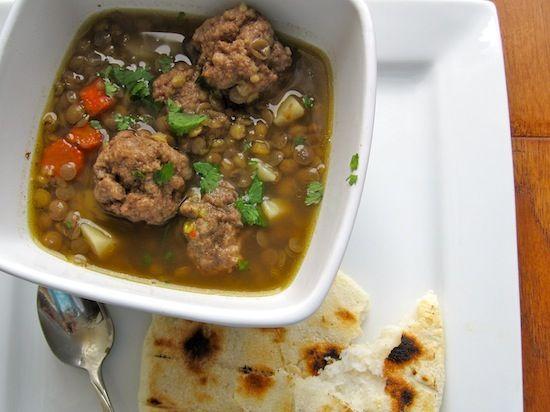 Sopa de Lentejas con Albondigas (Lentil Soup with Meatballs)-Colombia