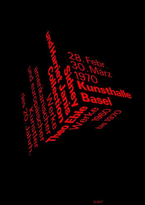 """searchsystem: """"Peter Von Arx / Kunsthalle Basel / Sidney and Harriet Janis Collection – Theo Eble / Poster / 1970 """""""