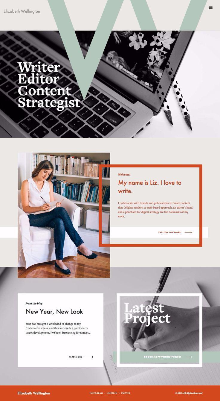 Like the design of this copywriter website. #red #white #gray #green