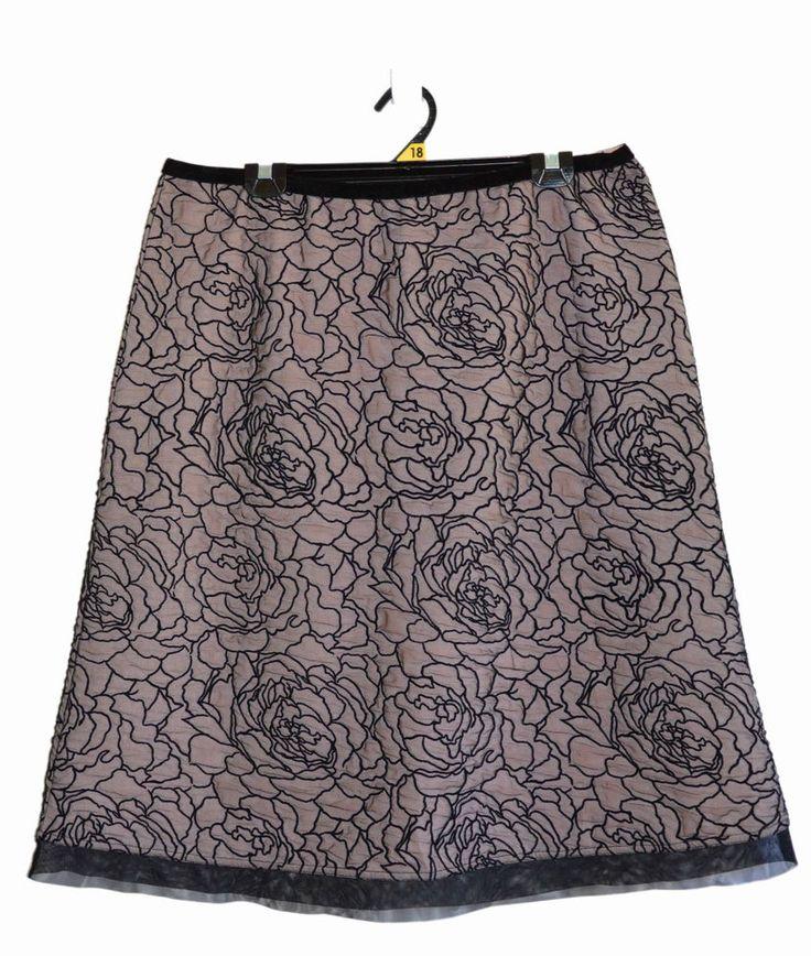 Free Postage (Size 18) Ellen Tracy - Black Rose Lace Rockabilly Skirt on Pink XL