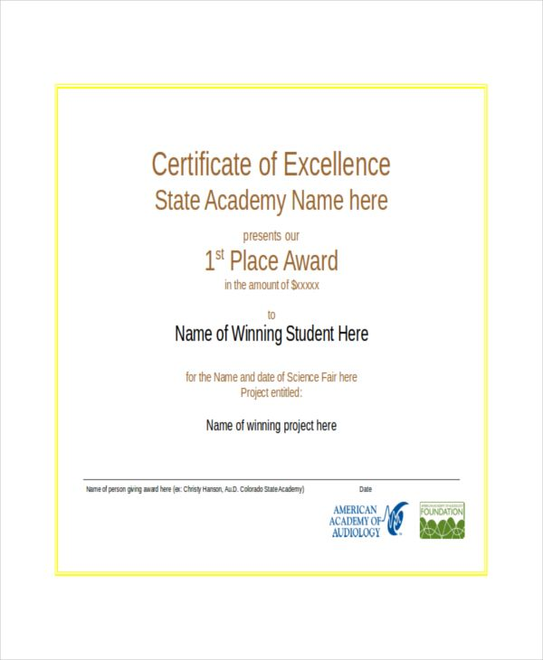 excellence certificate template free word pdf psd format printable examples