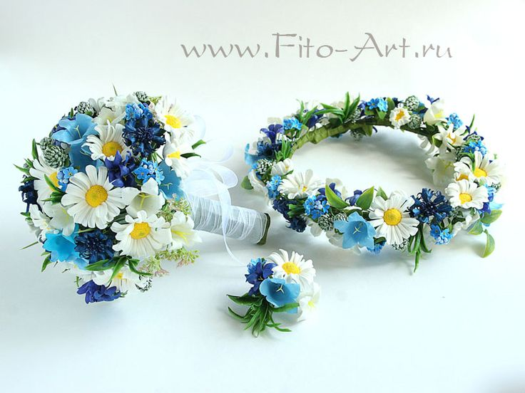 Свадебный комплект с полевыми цветами. Полимерная глина. Екатерина Звержанская.