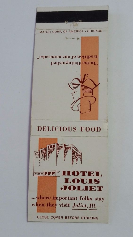 hotel louis joliet joliet illinois telephone 6 6171 matchcover to order your business