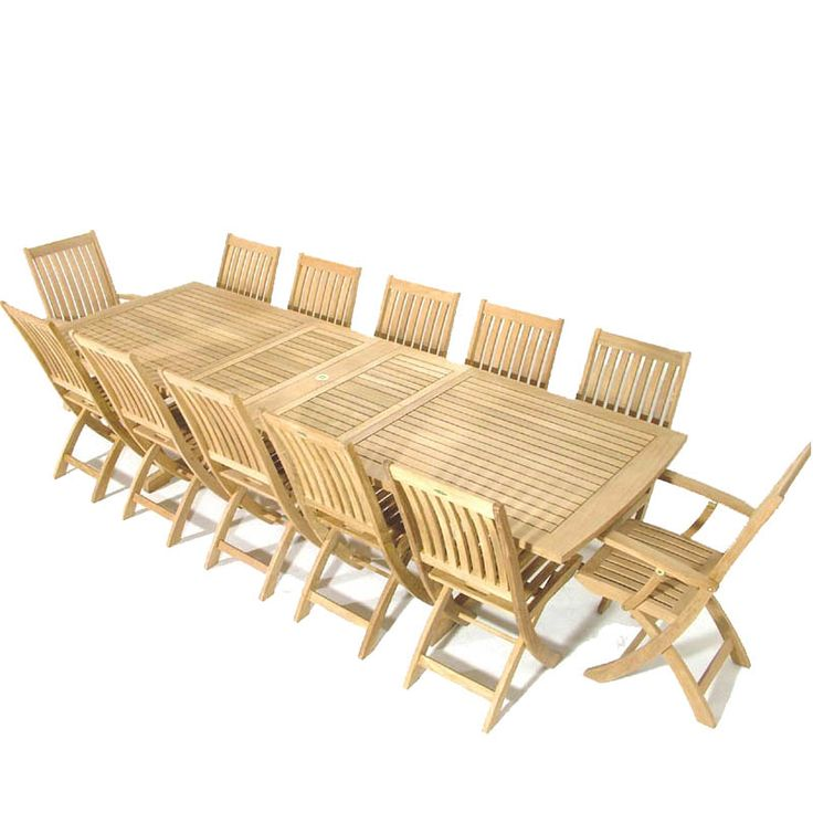 Large Rectangular Outdoor Dining Set Teak Furniture