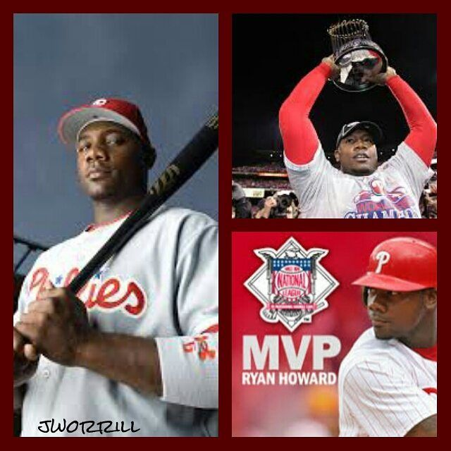 Phillies History: Ryan Howard (OF 2004-2016). A premier power hitter for Philadelphia Howard ranks no 18 by Sports Talk Philly as one of the all time great Phillies. His career highlights in Philadelphia include 2005 Rookie Of The Year. 2006 NL MVP. 2x MLB Home Run leader. 3x MLB RBI leader. 2nd in franchise history in Home Runs (382). 2009 NLCS MVP. 2008 World Series Chanpion. #ryanhoward #baseball #philadelphiaphillies #phillies #philadelphia