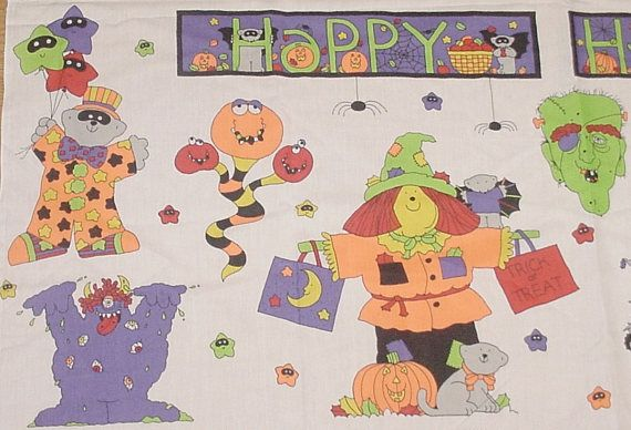 Vintage HAPPY HALLOWEEN BANNER or Appliques Fabric Panel w