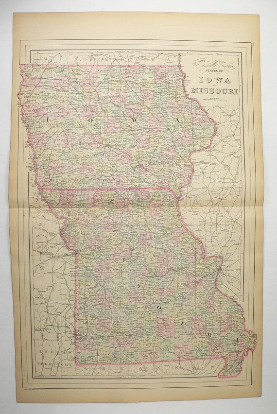 1886 Antique Missouri Map Iowa State Map 1886 Bradley Map Of